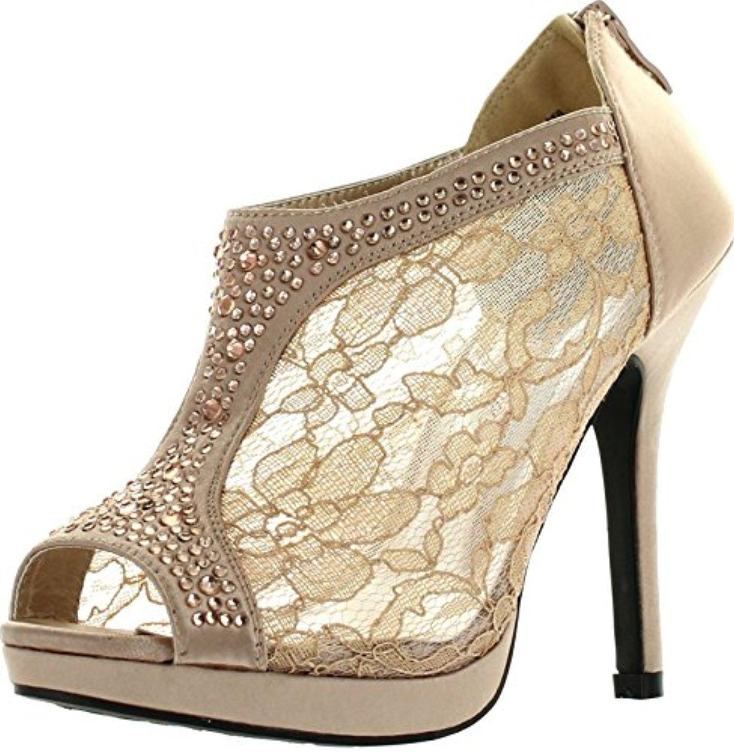 a5150a7afd7 De Blossom Yael-9 Womens Wedding Bridal High Heel Platform Cystal Lace  Ankle Bootie Shoes