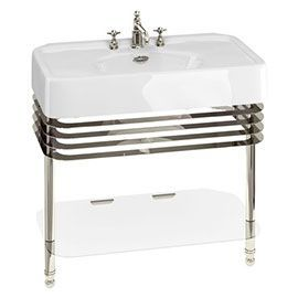 Photo of Arcade 900mm Basin and Stand with Glass Shelf – Various Tap Hole Options at Victorian Plumbin …