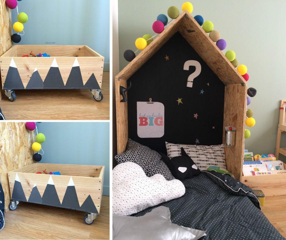 Diy une t te de lit cabane diy une caisse jouets montagnes enneig es diy by joli - Lit cabane diy ...