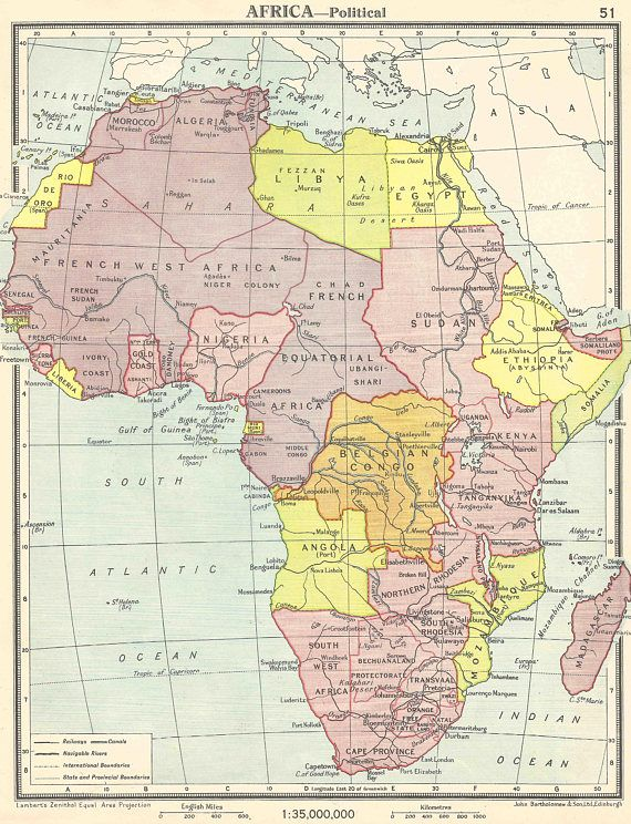 Africa Political 1920 Colonial maps Egypt Mococco South | MAP S