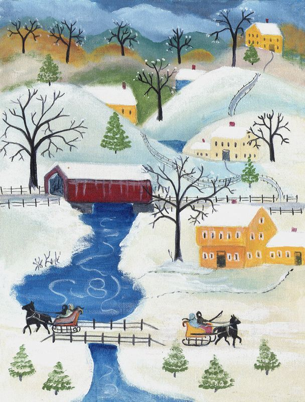 Winter Wonderland Sleigh Ride Folk Art Print