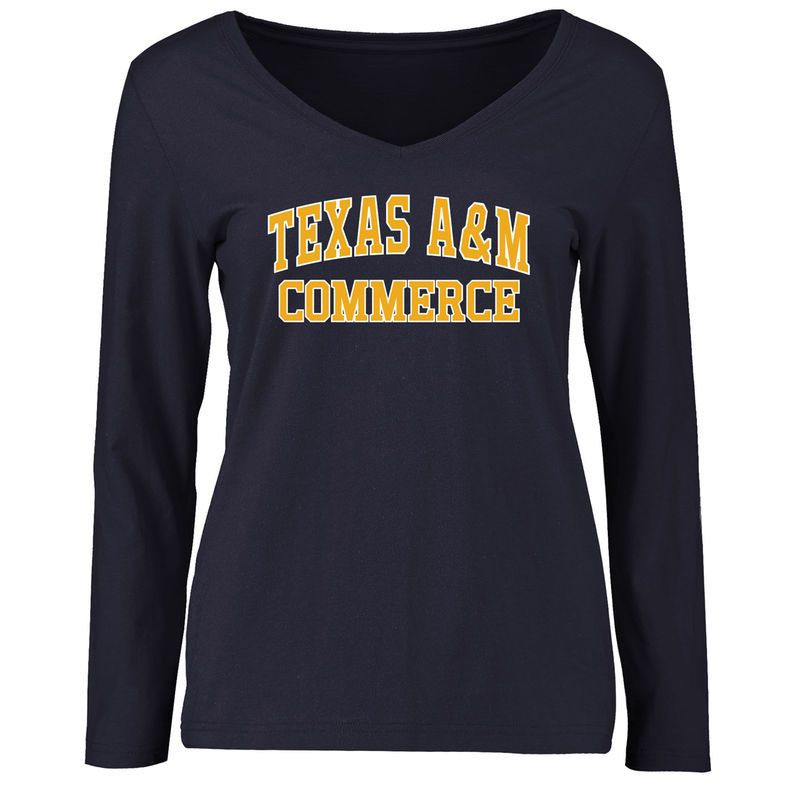 Texas A&M Commerce Lions Women's Everyday Slim Fit Long Sleeve T-Shirt - Navy