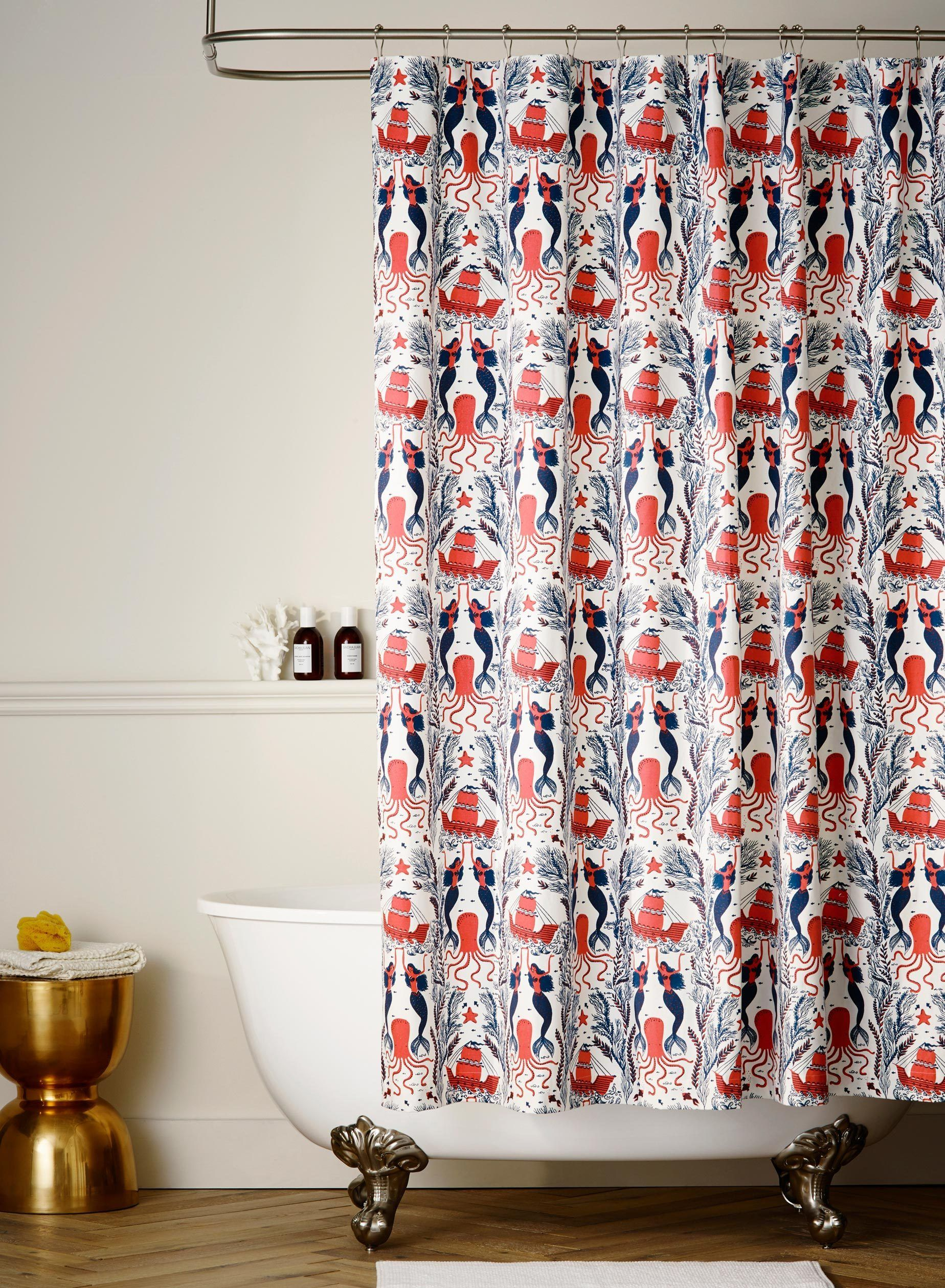 One Part That Can Make Your Scandinavian Bathroom Look A Lot More Attractive Is The Shower Coral Shower Curtains Cute Shower Curtains Navy Blue Bathroom Decor