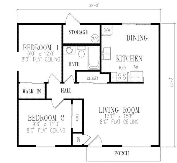 2 bedroom house plans 1000 square feet 781 square feet for Four square house plans with garage