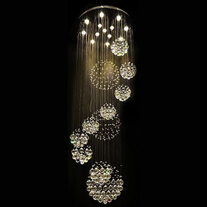 modern 11pcs lustre crystal ball design chandelier large