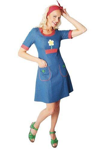 Siri S Denim Blå Design Med Daisy 14 Dress Kjole rr74wFq
