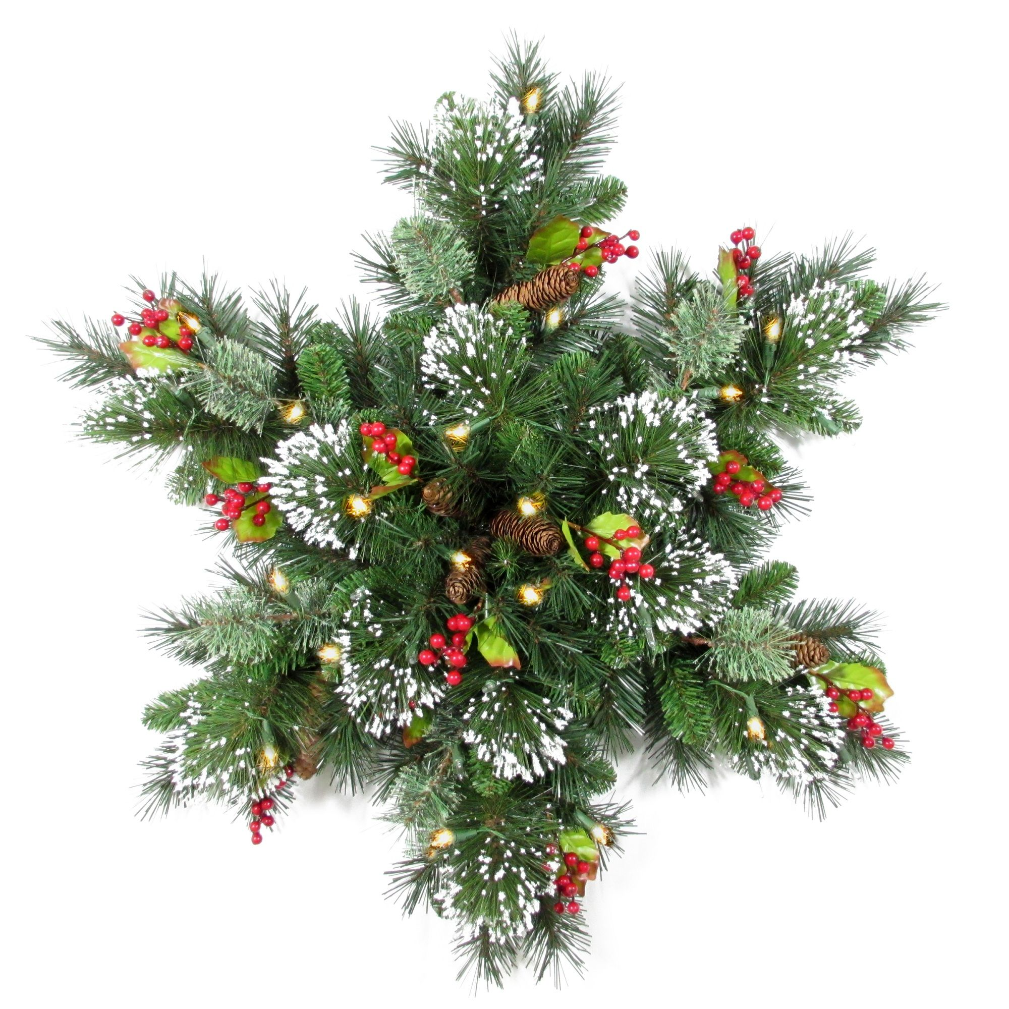 Pre Lit 32 Wintry Pine R Snowflake Artificial Christmas Wreath 32 Inch Battery Operated Warm White Clear Led Lights Artificial Christmas Wreaths Snowflake Decorations Christmas Swags