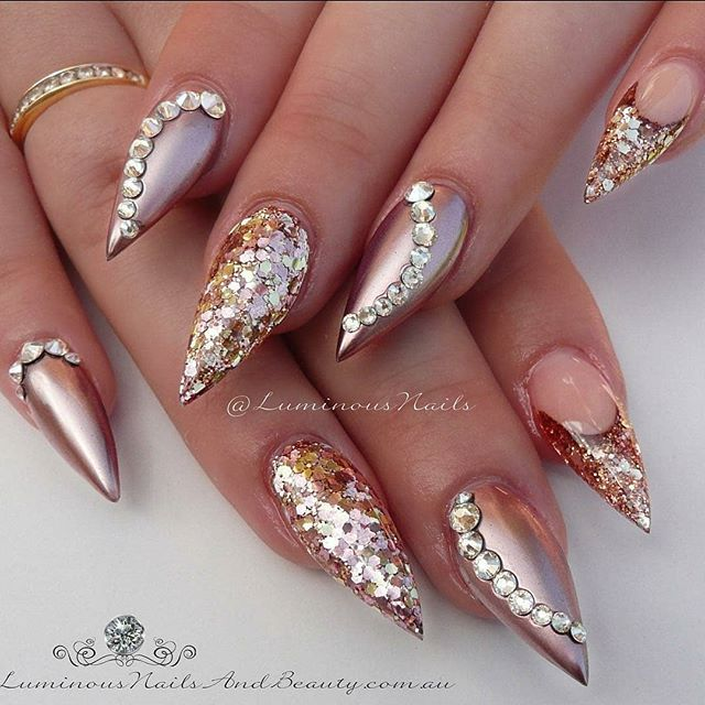 Super gorgeous tapered almond nail design with metallic rose gold ...