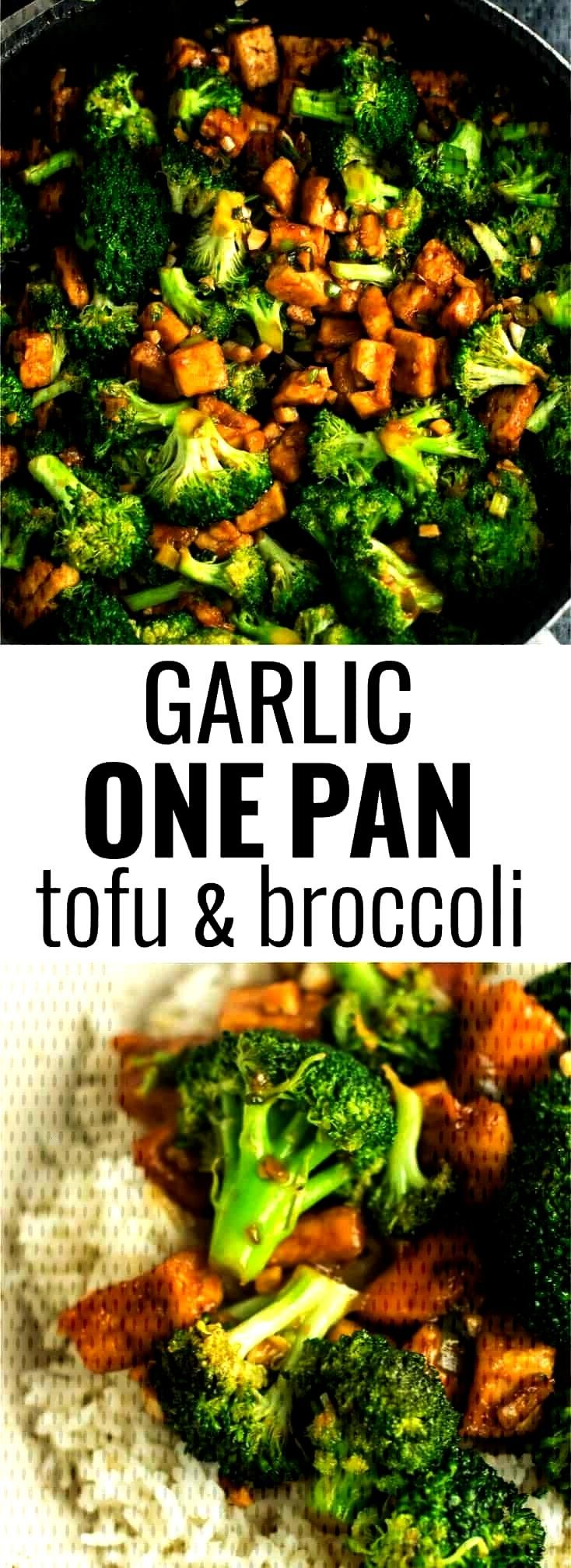 Suspended Garlic tofu broccoli skillet recipe made in just one pan. A healthy alternative ... -Acco