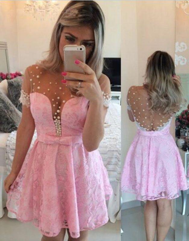 825b2930397e pink homecoming dresses, mini homecoming dresses, lace homecoming dresses, bowknot  homecoming dresses, short homecoming dresses @veenrol