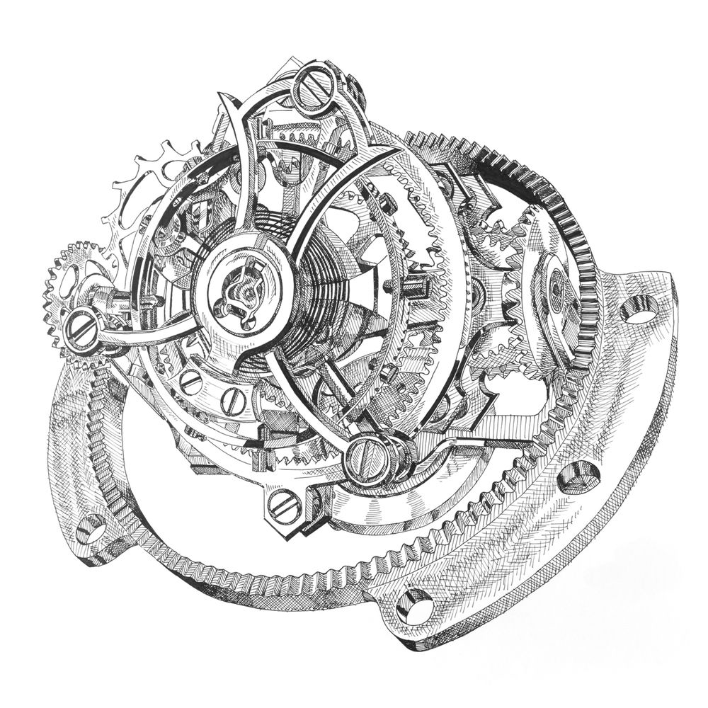 This ink drawing of a tri axial tourbillon (technical term