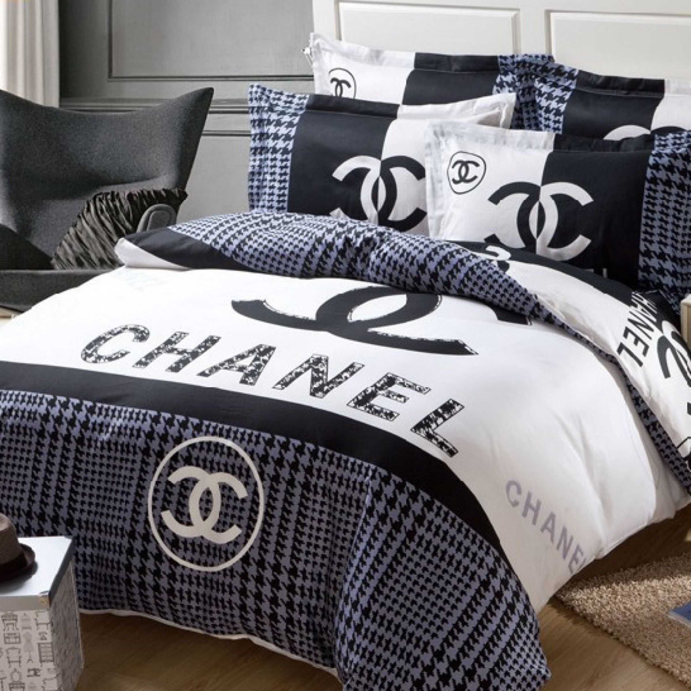 100 cotton duvet cover sheet pillowcasebedclothesv bed linen chanel pinterest housses de. Black Bedroom Furniture Sets. Home Design Ideas