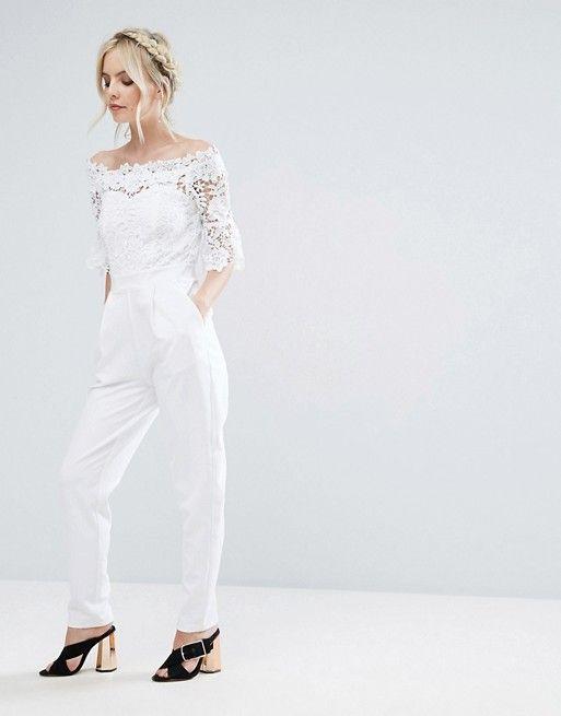 88ff9d87c1 Asos - Petite - Paper Dolls Petite Bardot Cutwork Lace Tailored Jumpsuit in  white