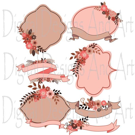 Flower clipart, Flower wedding clipart, Flowers digital clip art, Rustic label, Rustic ribbons, Invitation Label Tags, Brown, Pink flowers
