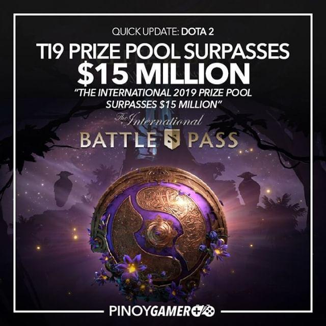 TI9 prize pool surpasses $15 million #TI9 #dota2 #pinoygamer
