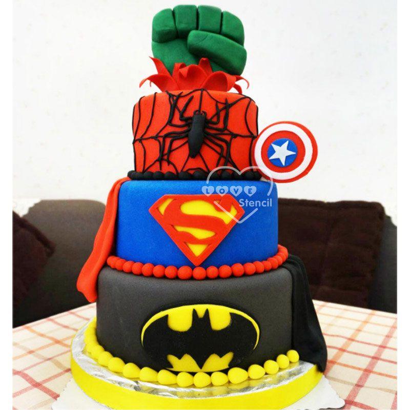 SupermanSpiderManBatman 3D Silicone MoldSugarcraft Fondant Cake