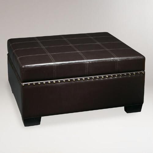 One of my favorite discoveries at WorldMarket.com: Espresso Bi-Cast Leather Bowen Storage Ottoman