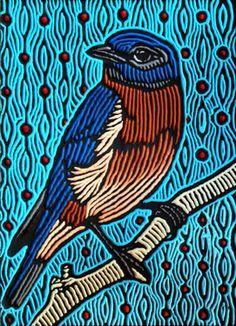 Bluebird Beautiful Example Of Multi Colored Printmaking
