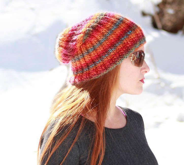 Sherbert Slouch Beanie knitting pattern [Gina Michele] | knit ...
