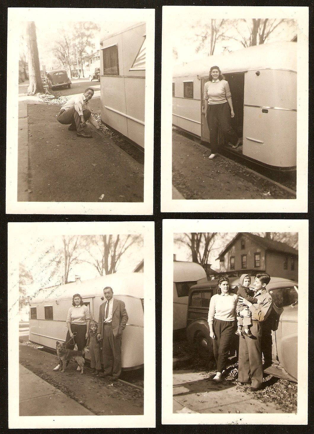 1940's WOODIE Woody WAGON Travel Trailer MOBILE HOME Original Photo LOT of 4 | eBay