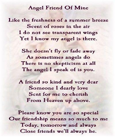 Angel Friend Of Mine Guardian Angels Friend Poems Friendship