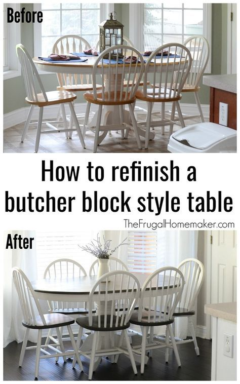 How To Refinish A Butcher Block Style Table In 2019 Farmhouse