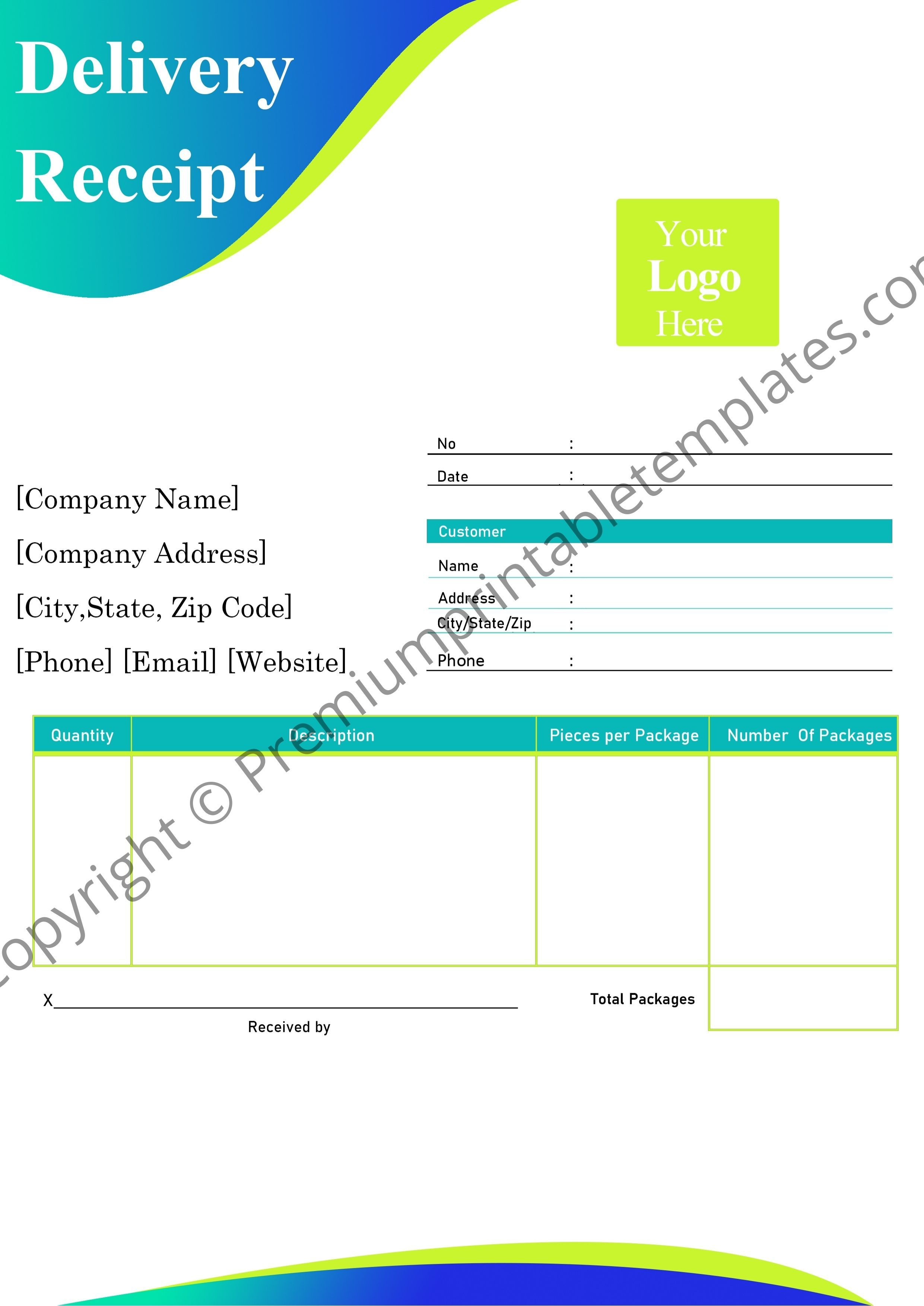 Printable Delivery Receipt Template Editable Printable Pack Of 5 Premium Printable Templates Receipt Template Template Printable Templates