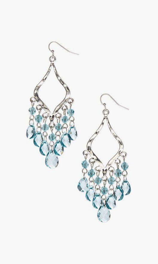 Uptown Girls Aqua & Silver Lacey Drop Earrings