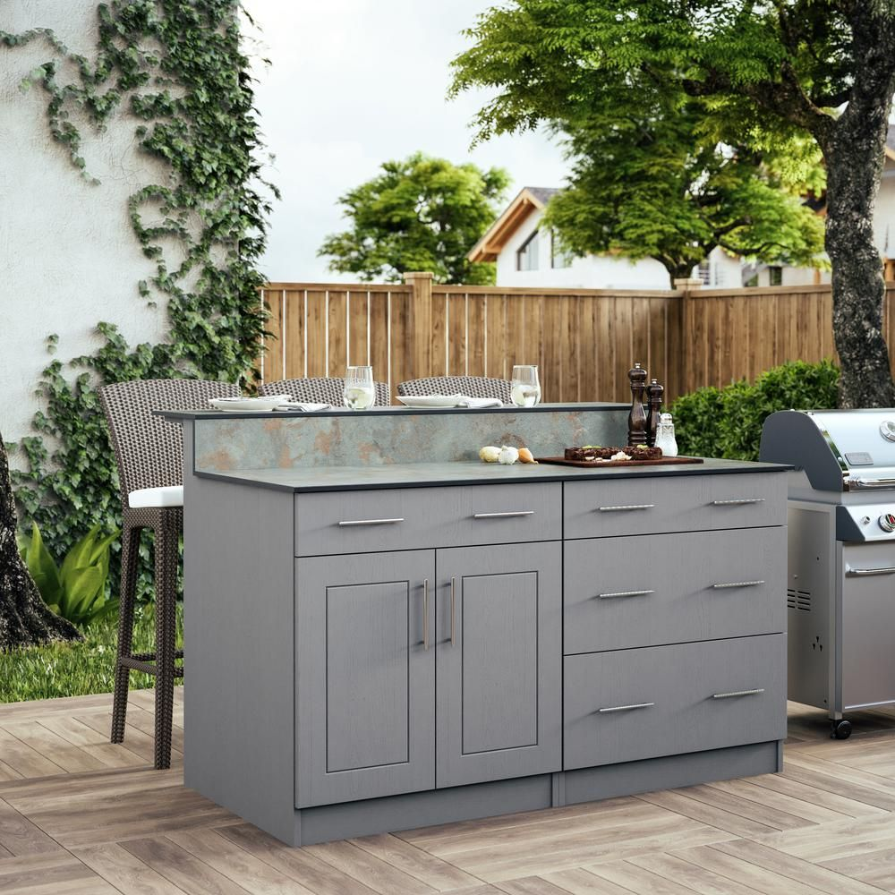 Weatherstrong Palm Beach 59 5 In Outdoor Bar Cabinets With Countertop 2 Door And 2 Drawer In Gray En000107 Prg The Home Depot Outdoor Kitchen Cabinets Diy Countertops Kitchen Set Cabinet
