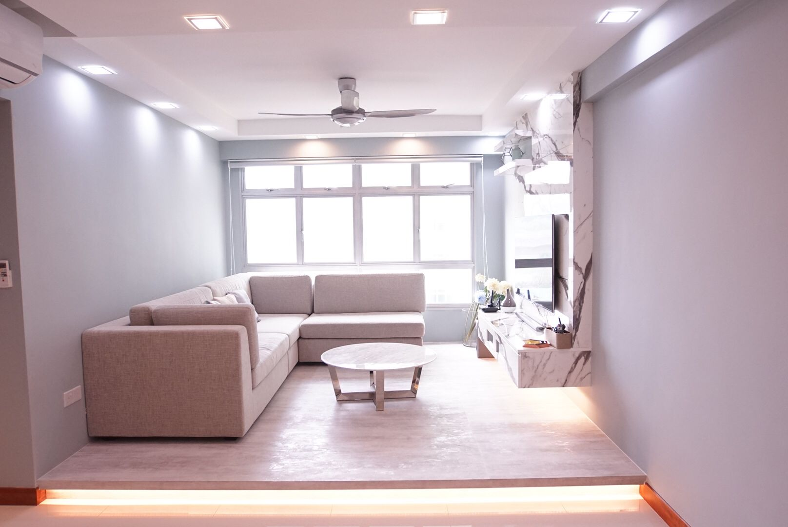 Hdb bto home reno decor minimalist marble modern living flat