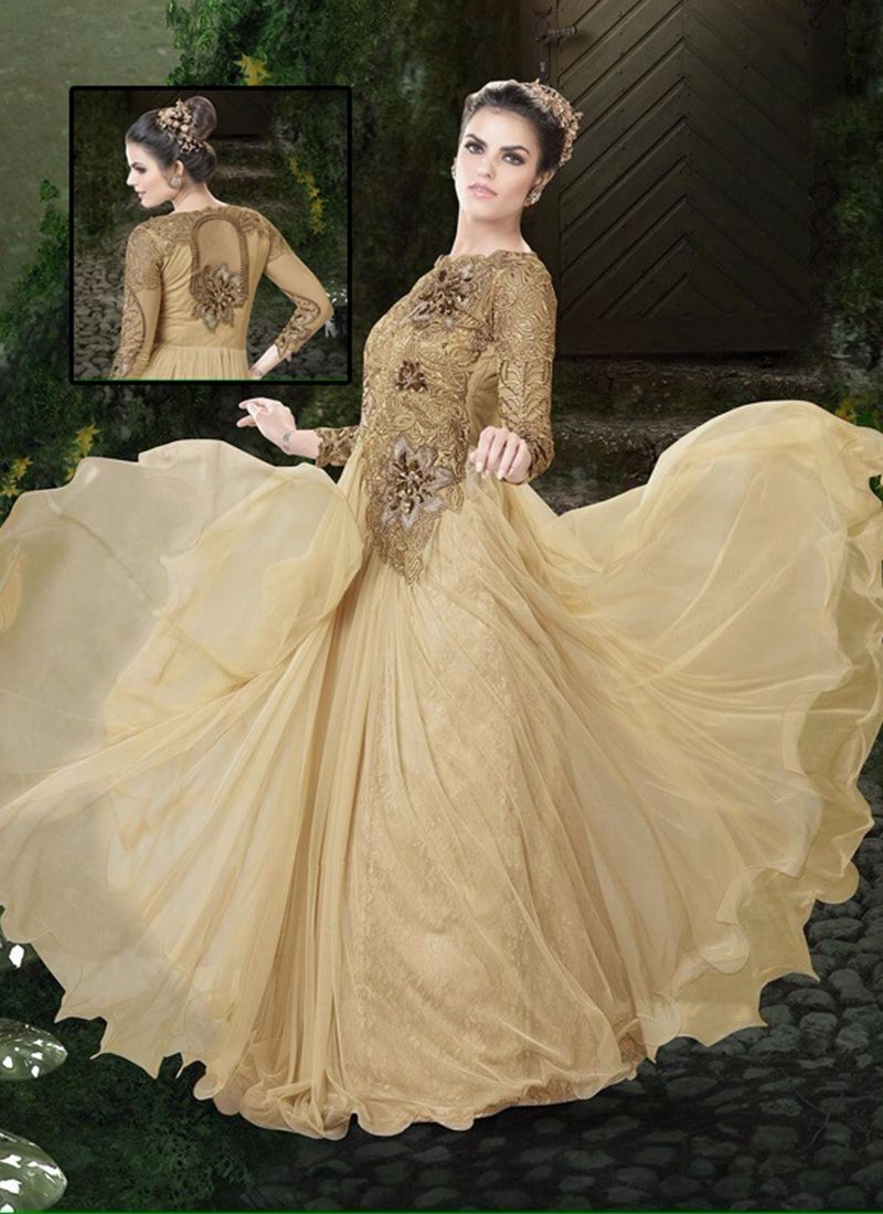 Pure Golden Color Party Wear Embroidery Touch Simple Evening Gown WeddingDesigner