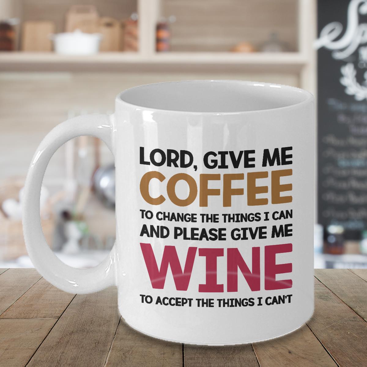 Lord Give Me Coffee Mug Cup Funny Christmas Birthday Novelty Dad Mom Wine Gift Ebay My Coffee Wine Mom Funny Coffee Cups