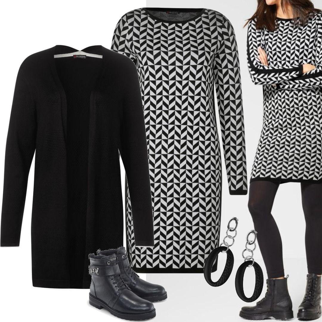 street one kleid mit fischgrätenmuster outfit für damen zum