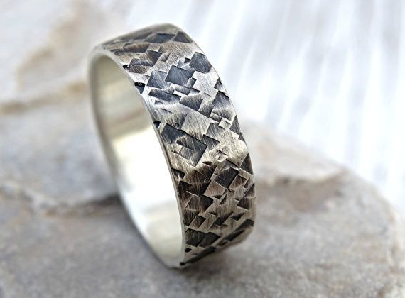 Unique Mens Wedding Ring Silver Square Structured Mens Ring