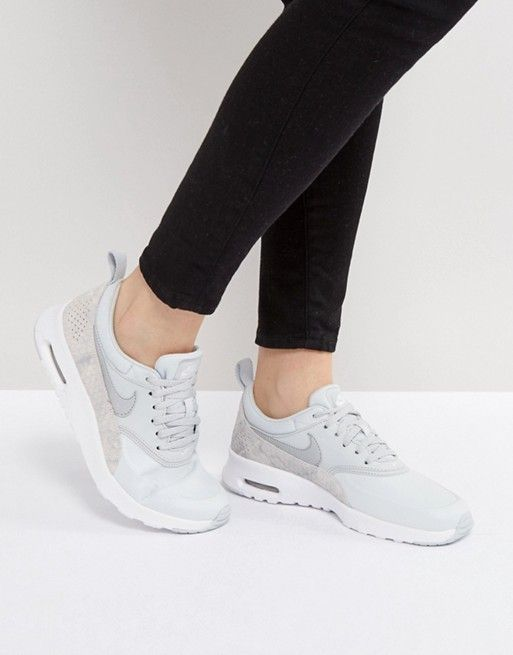 Nike Air Max Thea Premium Trainers In Grey Faux Snake