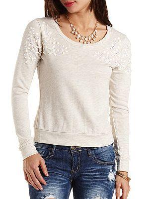 Beaded & Rhinestone-Embellished Sweatshirt: Charlotte Russe