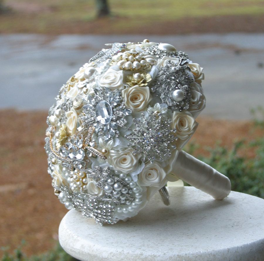 Deposit on Gold Silver Crystal Broach Bouquet. Made to