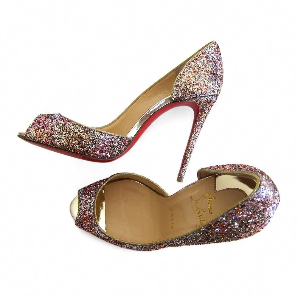 97ddb26c7fca Christian Louboutin Demi You 100 Glitter Half d Orsay peep toe pumps have a  structure