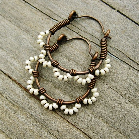 Ruffle Bottom Hoops  Wire Wrapped Hoop Earrings  seed beaded in cream pearl and antiqued copper cuties is part of Earrings handmade, Wire jewelry, Beaded earrings, Jewelry tutorials, Copper jewelry, Beaded jewelry - search search query ruffle+bottom&order date desc&view type list&ref shop search E17RBCP