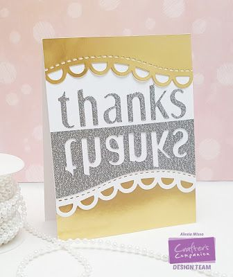 Supplies: - Sara Signature Floral Delight Collection Scalloped Border Die - Lowercase Alphabets Dies - Crafter's Companion Ultra Smooth White Cardstock - Stick It Large Size Stick It Die-Cut Adhesive  Other Supplies: - Gold Foil Cardstock - Silver Glitter Cardstock