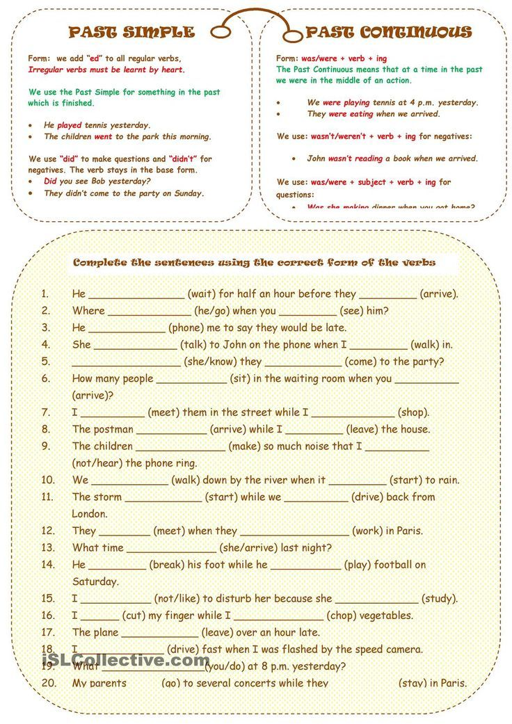 PAST SIMPLE OR CONTINUOUS: | Print for title | Pinterest