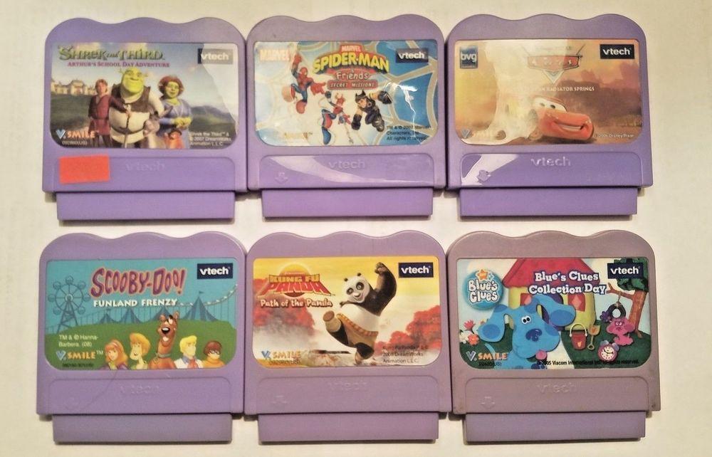 Vtech V Smile Cartridge Kids Video Games Lot Of 6 Disney Shrek