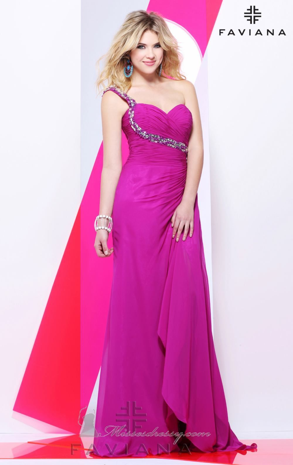 2dab022381 New Arrival Chiffon Empire Ruched Girls One Shoulder Prom evenin  S6985