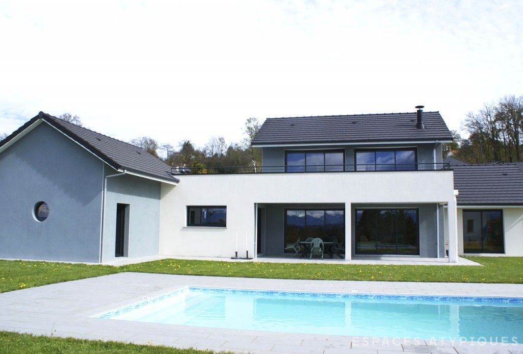 Pau  Maison contemporaine avec piscine - Agence EA Biarritz B - entree de maison contemporaine