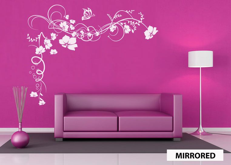 for bedroom wall above tv? Flowers Butterfly vine wall sticker decal ...