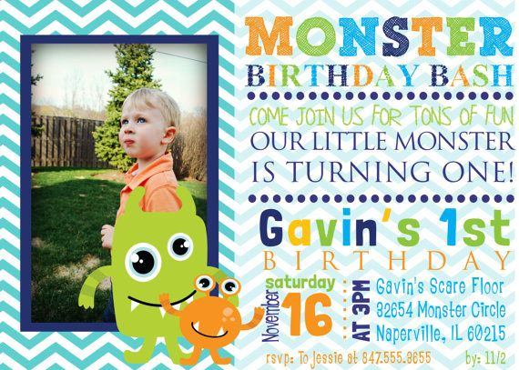 Birthday Monsters Invitation Digital Print By Funablescreations