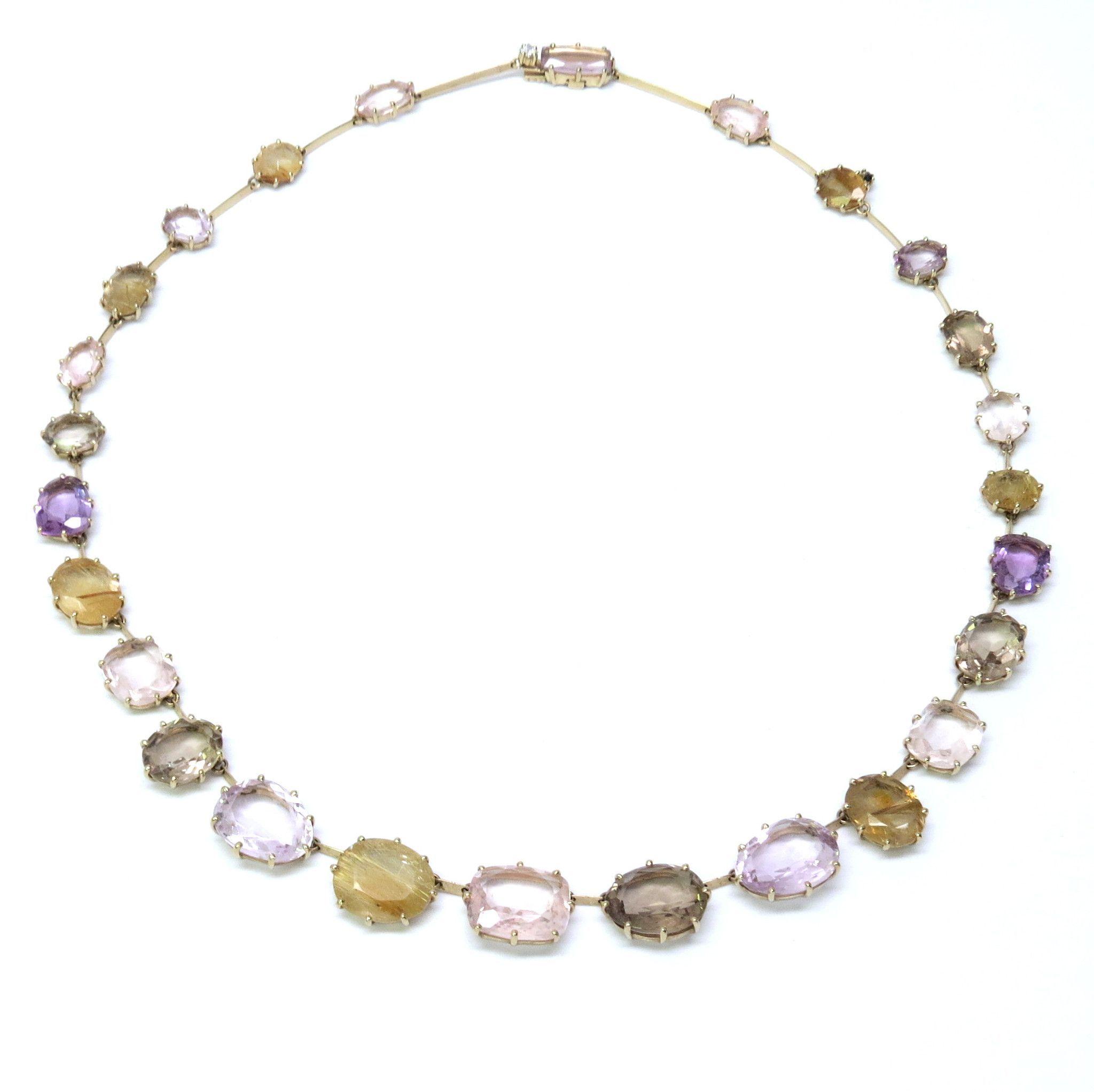3b22bc292 H. Stern Sunrise Collection Gold Quartz Amethyst Diamond Necklace ...