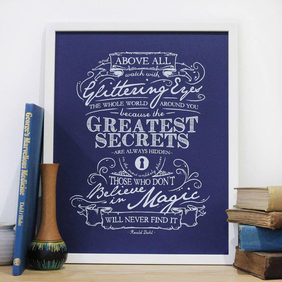 Magical Quotes Believe In Magic' Roald Dahl Quote Print  Roald Dahl Quotes Dahl