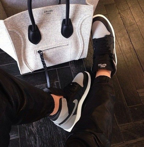 Shoes: nike sneakers grey black bag celine bag air jordan 1 leather pants  .black