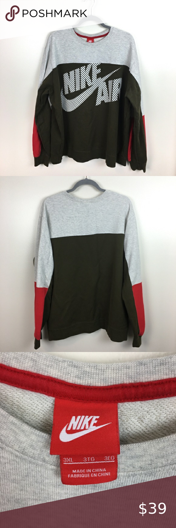 Nike Air Men S Color Block Crewneck Sweatshirt Sweatshirts Crew Neck Sweatshirt Color Block [ 1740 x 580 Pixel ]